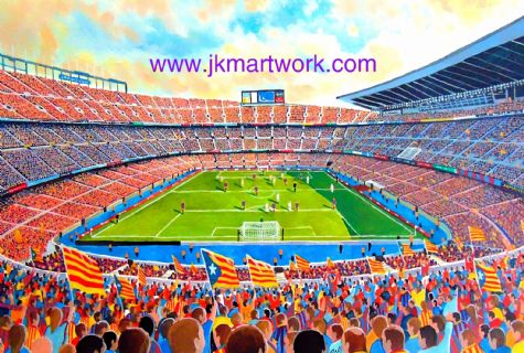 Nou camp on matchday print
